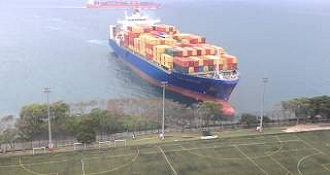 Container Ship Sails Straight to Shore by Hong Kong University's Football Field