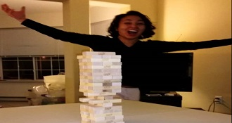 Girl Performs Impossible Jenga Move