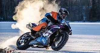 Street Bike Rallycar And Snowmobile Getting Crazy On Ice