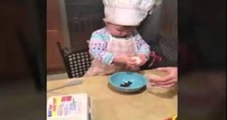 Adorable Chef Toddler Cracks An Egg Better Than Most Adults