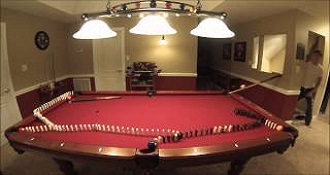 Amazing Billiards Trick Shot With Dominoes