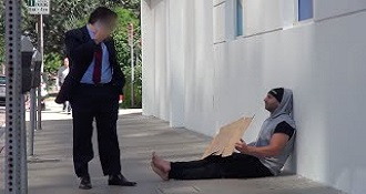 Homeless Man Giving Passersby Money Experiment
