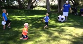 This Guy Accidentally Nail A Kid In The Face With A Giant Soccer Ball