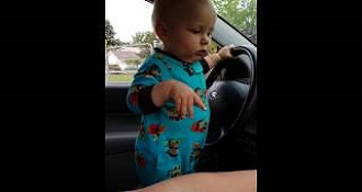 Adorable Baby Loves The Car Radio Loud