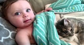 Baby And Cat Waking Up Together Is The Cutest