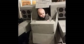 Dad Builds Epic Mech Warrior Baby Carrier For Halloween