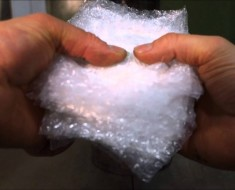 Crushing Bubble Wrap With Hydraulic Press