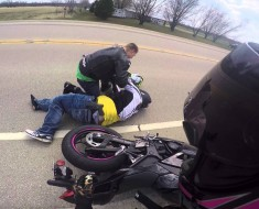 Biker Crashes Into Dog And Is Almost Killed By A Truck