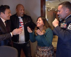 Jimmy And Dwayne Johnson Surprise Staffer