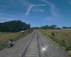 Biker Jumps Out Of The Way Of Uncoming Train
