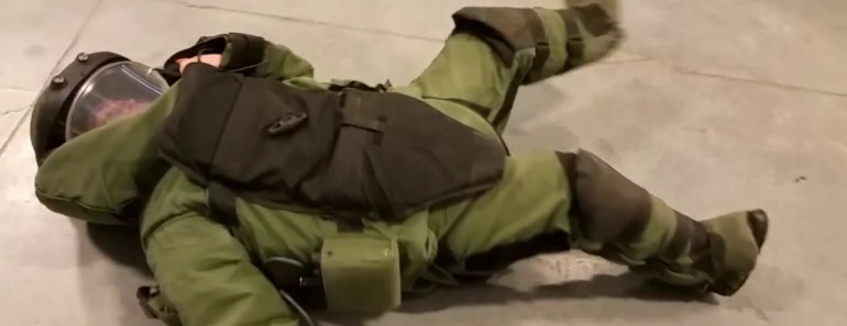 Chick Has Some Trouble With A Bomb Suit